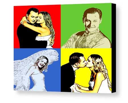 Personalized Bevel Mount Plaque Warhol Pop-Art wedding picture