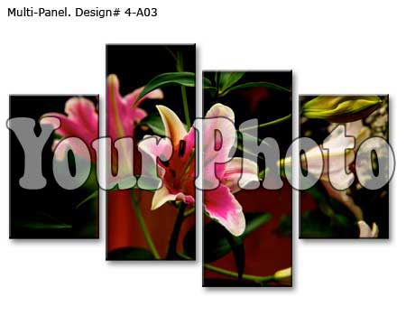 Four panel canvas display