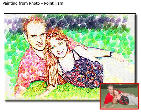 Pointillism painting Couple Portrait