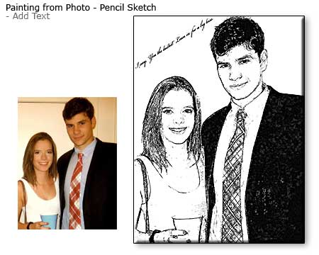 Pencil Sketch Friends Portrait from photo to canvas