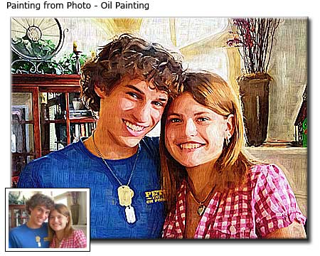 Boyfriend-girlfriend portrait painting from photo