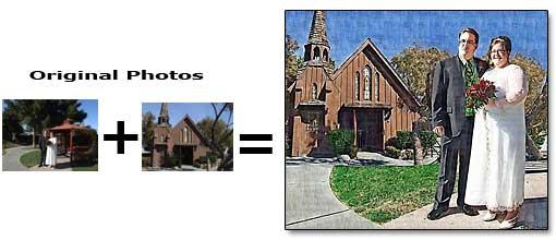 Combine two wedding photos into one