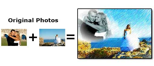 Integrate two wedding pictures together