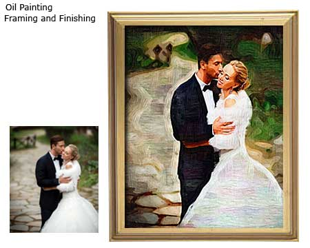 Oil wedding photo painting portrait and frame options