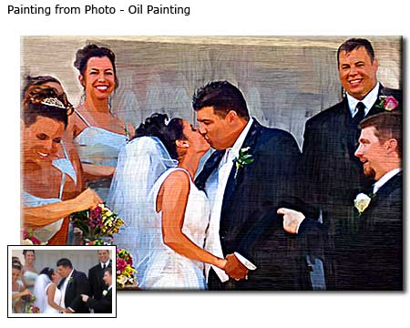 Custom oil painting Wedding Portrait, cakes party shoot