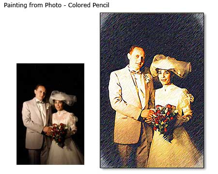 Traditional painting wedding portraits, photo to canvas art, wall displays