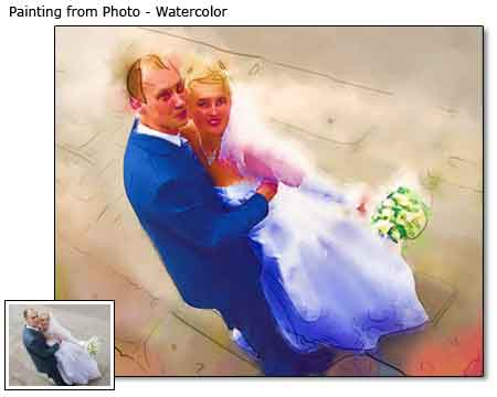 Professional Wedding Portrait in Watercolor painting