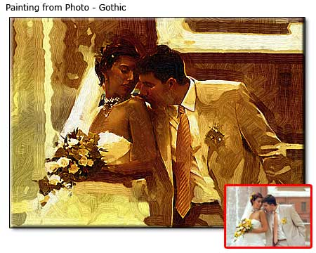 Wedding couple portrait painting
