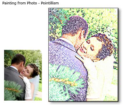 Pointillism painting Wedding Portrait