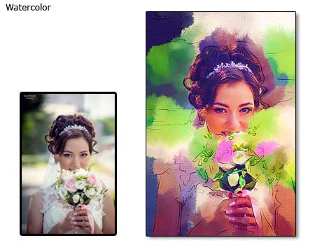 Wedding photo into watercolor portrait painting