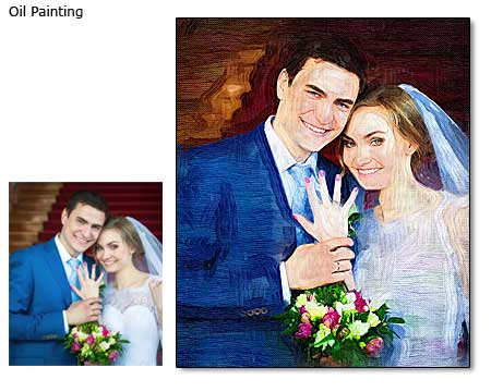 Wedding portrait oil painting from photo