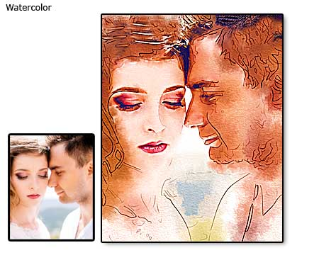 Wedding water color portrait painting