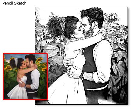 Wedding portrait drawing, pencil sketch artwork from photo