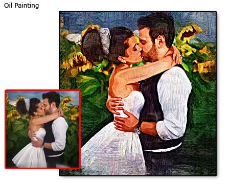 Wedding bridegroom portrait oil painting from photo