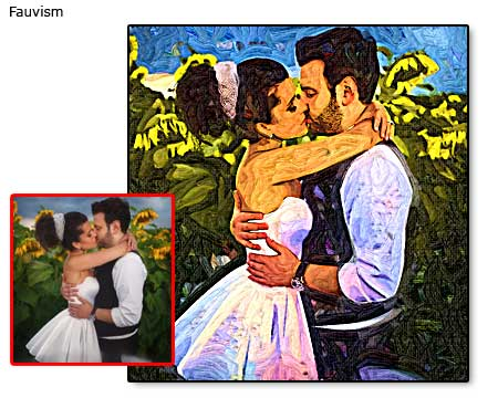 Turn wedding photo into painting, a kiss that last forever
