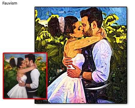 Wedding kiss portrait painting