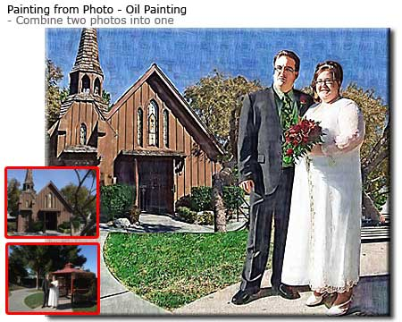 Convert wedding pictures into oil portrait painting