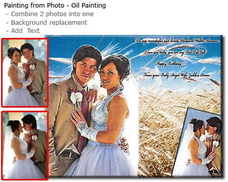 Life Wedding collage portrait oil painting