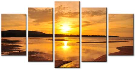 Five Canvas Sectional Landscape Art. ""