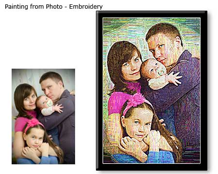 Family Photo To Framed Canvas Embroidery Painting