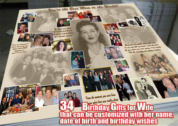Personal 34th wife birthday collage, love  quotes, 34 gift ideas