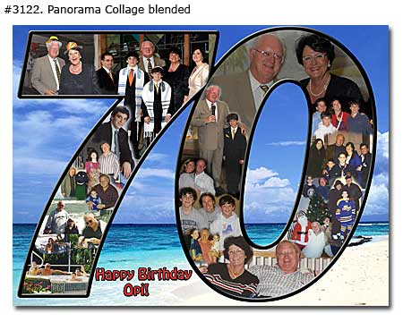 70th husband birthday collage, photos in shape of number 70 and birthday wishes