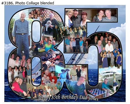 85th Birthday collage, photos in the shape of 85 for the 81, 82, 83, 83, 84, years old husband, wife, parents, grandpa, grandma