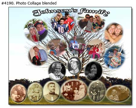 = Family tree photo collage,  wall art name of family pictures