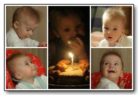 First birthday baby girl collage